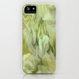 Soft Green Petal Ruffles Abstract iPhone Case
