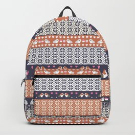 Fair Isle Christmas Guinea pig Pattern Backpack