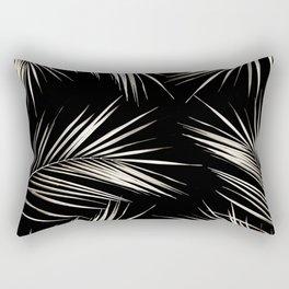 White Gold Palm Leaves on Black Rectangular Pillow