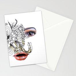 rostros y flores Stationery Cards