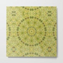 Gentle green Kaleidoscope Mandala Metal Print