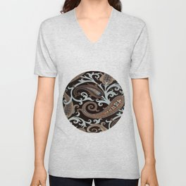 Classic Paisley in Brown Unisex V-Neck