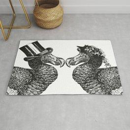 Mr and Mrs Dodo | Dodo Couple | Dodo Bird | Extinct Birds | Black and White | Rug