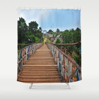 peru Shower Curtains featuring Rickety Bridge - Peru by Liesl Marelli