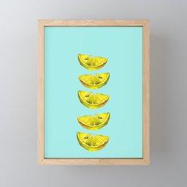 Lemon Slices Turquoise Framed Mini Art Print