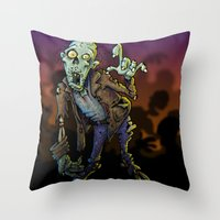 zombie Throw Pillows featuring ZOMBIE! by Billy Allison
