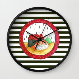 Sushi and stripes Wall Clock