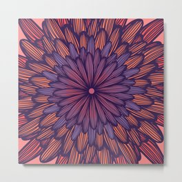 Modern Girly Coral Purple Flower Illustration Metal Print