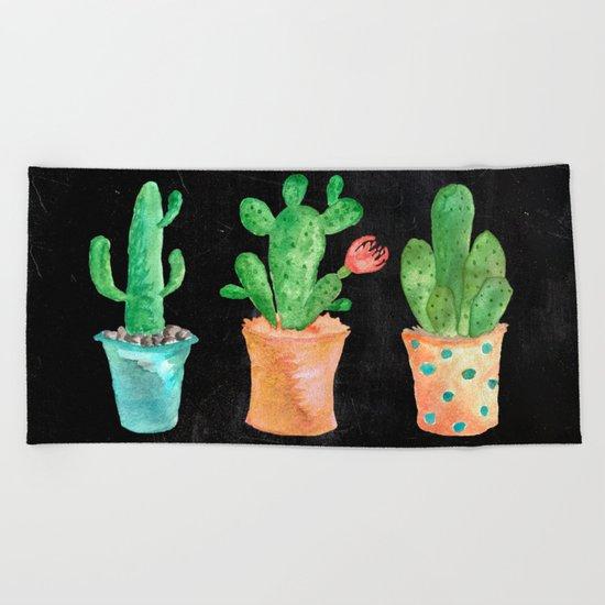 Three Green Cacti On Chalkboard Beach Towel