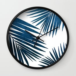Indigo Palm Fronds Wall Clock
