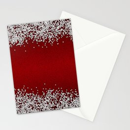 Shiny Red Texture With Silver Sparkles Stationery Cards