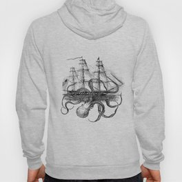 Octopus Attacks Ship on White Background Hoody