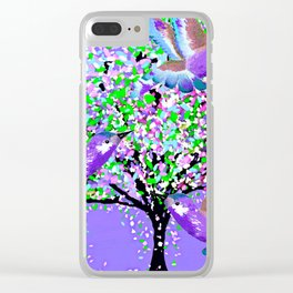 BIRDS OF SPRING PURPLE OIL PAINTING Clear iPhone Case