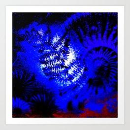 Ammonite Deep Blue Art Print