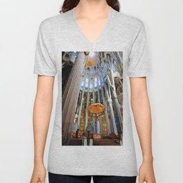 Sagrada Familia by Gaudi, Barcelona Cathedral   Jesus On The Cross Unisex V-Neck