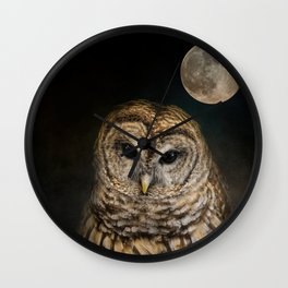 Barred Owl and the Moon Wall Clock