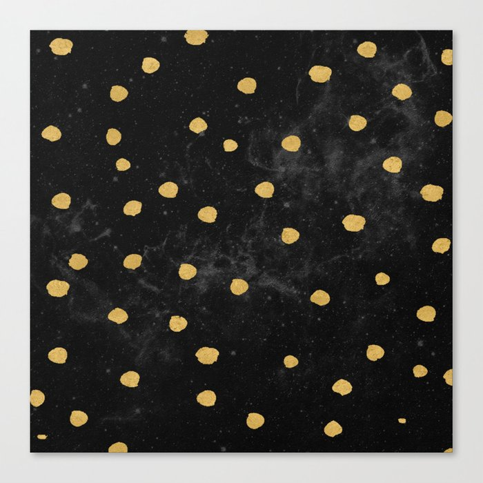 Gold Dots on Black Space Pattern Canvas Print