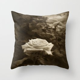 Pink Roses in Anzures 5 Antiqued Throw Pillow