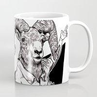 ram Mugs featuring Ram by Hopler Art