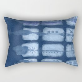 Tribal Etchings in Blue Rectangular Pillow