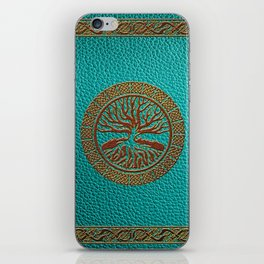 Tree of life  -Yggdrasil  - Embossed Faux Teal & Brown Leather iPhone Skin