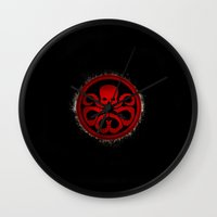 hydra Wall Clocks featuring Hydra grunge by erndub