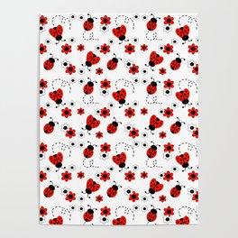 Red Ladybug Floral Pattern Poster