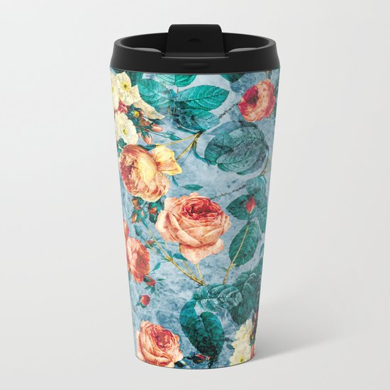 Floral and Marble Texture II Metal Travel Mug