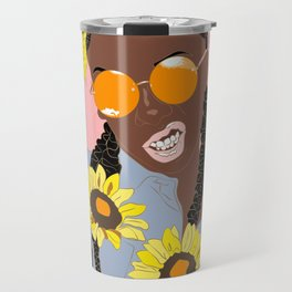 Black Flower Goddess - Digital Vector Drawing Travel Mug