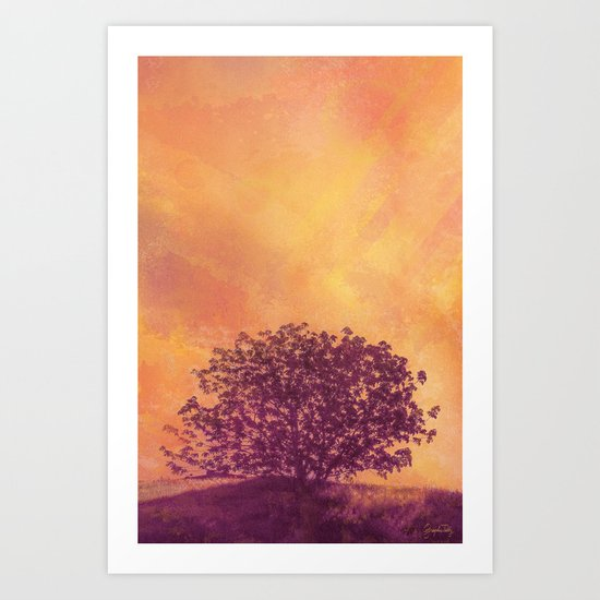Red Violet Lone Tree and Fall Sunlight Art Print