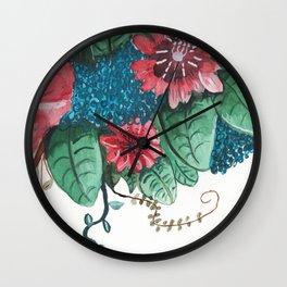 Ruby Botanical 3 Floral Watercolor Wall Clock
