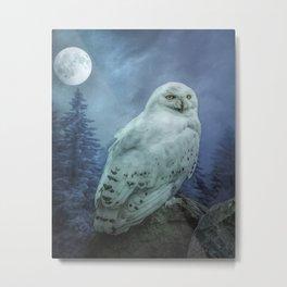 Moonlit Snowy Owl Metal Print