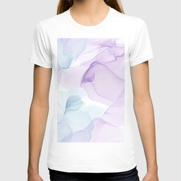 Purple Blush and Blue Flowing Abstract Painting T-shirt