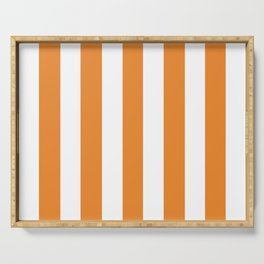 Cadmium orange - solid color - white vertical lines pattern Serving Tray