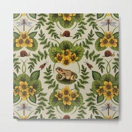 Wetlands Creatures - Toads, Snails, Dragonflies & Marsh Marigolds Metal Print