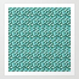 blue colorful geometric tiles pattern Art Print