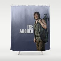 archer Shower Curtains featuring The Archer (Purple Version) by Valerie Canizales