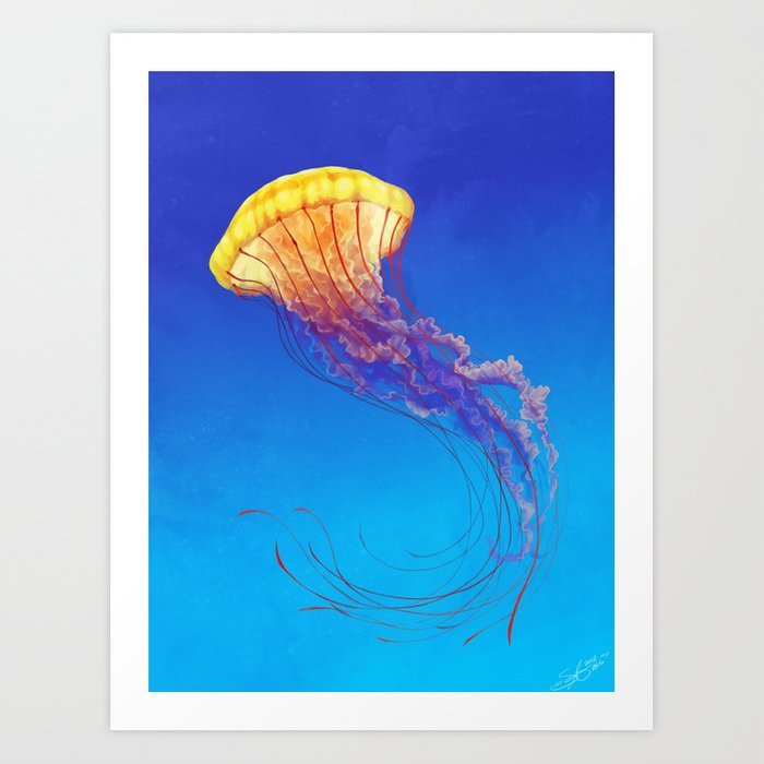 Jellyfish art print by skepticarcher society6 for Jelly fish art