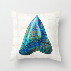 Blue Shark Tooth Art by Sharon Cummings Throw Pillow