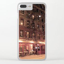 Cornelia St Cafe in the snow Clear iPhone Case