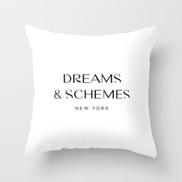 Dreams and Schemes Logo - White Throw Pillow