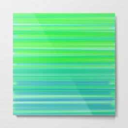 Playful Ombré Stripes- Green & Blue Metal Print