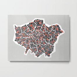 London Boroughs Abstract Map Metal Print