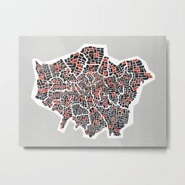 London Boroughs Abstract Map Metal Print