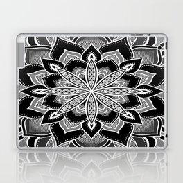 Mandala: Black Gray White Flower Laptop & iPad Skin