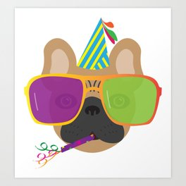 Party French Bulldog With Party hat and Colorful Sunglasses Art Print
