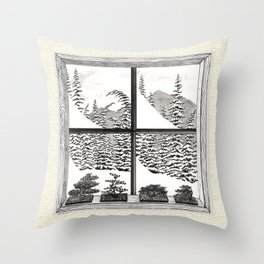 SNOWED IN BONSAI VINTAGE PEN AND PENCIL DRAWING Throw Pillow