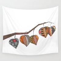 lantern Wall Tapestries featuring chinese lantern by Nina Gibson