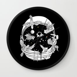 Depth of Discovery (A Case of Constant Curiosity-B/W) Wall Clock