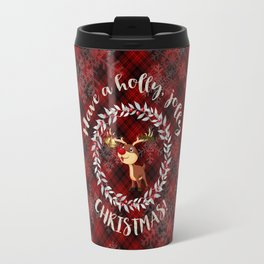 Rudolph Red Plaid Have a Holly, Jolly CHRISTMAS typography Travel Mug